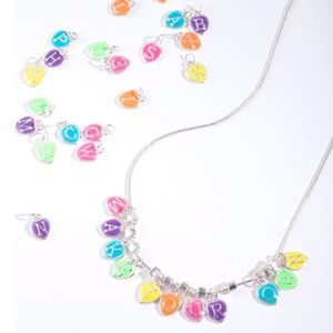 Enamel Rainbow Letter Necklace + Two Chains